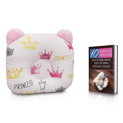 KidiZone das ergonomische Babykissen gegen Plattkopf und Kopfverformung mit Oeko-Tex 100 Zertifikat. Kinderkissen, Lagerungskissen, baby pillow für die Baby Erstaustattung + kostenloses eBook Princess