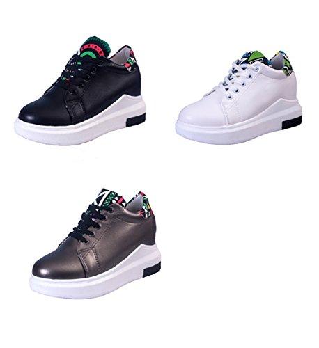 hexiaji 22cm-24.5ccm chaussure femme chaussure talon bas chaussure à lacet chaussure blanche noire grise Blanc