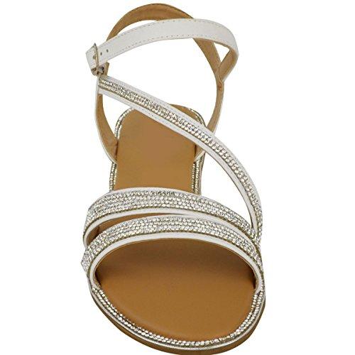 Scarpe Basse Da Donna Lustrini Sandali Estivi Con bretelline Spiaggia Gladiatore scarpe numero GB Bianco Simil Pelle / Lustrini
