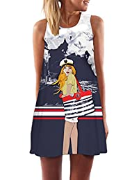 WanYang Casual da Donna Estate Stampa Slim Senza Maniche Canotte Spiaggia  Mini Vestito (Bianca alquanto 1a6123ee5bb
