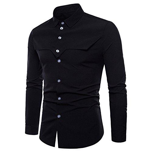 VECDY Herren Bluse,Lässige Herren Mode Langarm Oxford Formelle Casual Anzüge Slim Fit T-Shirt Hemden Bluse Tops Business T-Shirt Sportpullover Modische Strickjacke Bluse