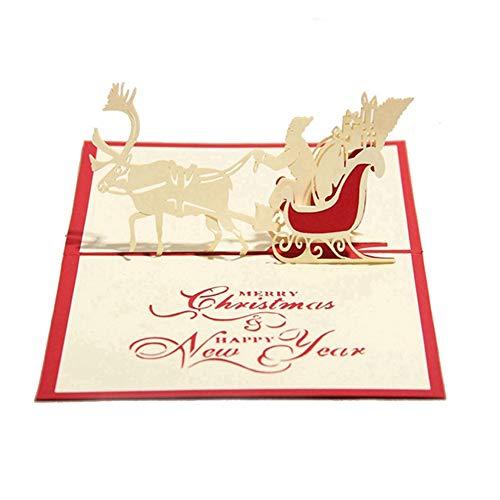 NiceButy 3D-Weihnachtskarte Pop-up-Karte Lustiger Einzigartige 3D-Feiertags-Postkarte Geschenk Weihnachten Religion Boxed Frohe Weihnachten danken Ihnen, Rot (Reindeer Car)