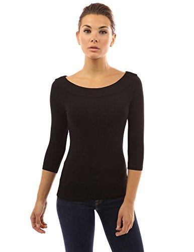 PattyBoutik Damen U-Boot-Ausschnitt Stretch Bluse mit 3/4 Ärmeln (schwarz 36/S)