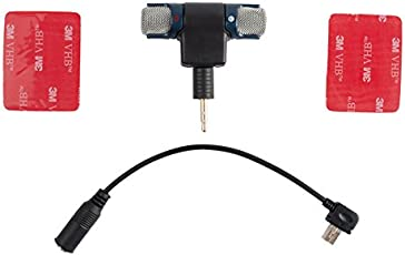 Brain Freezer J 3. 5mm Stereo Condenser Mic Microphone + Adapter Cable Wire w/ Tape for GoPro Hero 3 3 & 4 5 Action Camcorder Camera Black