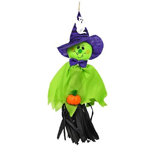 AMOYER Halloween-Party-Dekoration Horror Geist Scherzt Trick Hanging Garland Dekoration Hexen Anhänger Props Grün