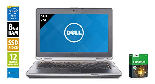 Dell Latitude E6430 | Notebook | Laptop | 14,0 Zoll (1600x900) | Intel Core i5-3360M @ 2,8 GHz | 8GB DDR3 RAM | 250GB SSD | DVD-Brenner | Webcam | Windows 10 Home (Zertifiziert und Generalüberholt) - 8 Ram Dell Laptop Gb