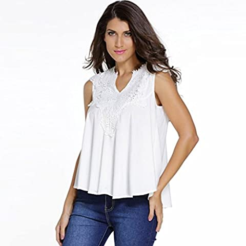 Bling-Bling Womens White Embroidered Applique V Neck Blouse Top Size M