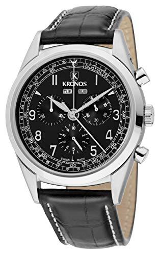 KRONOS - First Class Chronograph Complete Calendar Black 963.55 - Reloj de Caballero de Cuarzo, Correa...