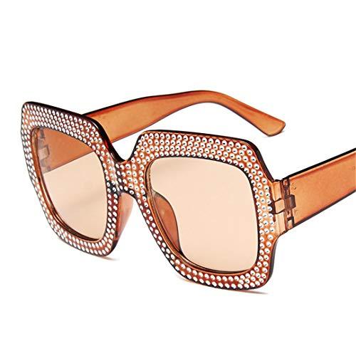 DAIYSNAFDN Großer Rahmen Sonnenbrille Frauen Mann/Frauen Sonnenbrille Klassische Vintage Outdoor Punk Tea Tea