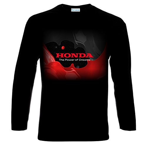 Honda Power Of Dreams Logo Männer Langarm Printed t-shirt (M, Black)