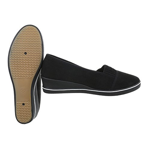 Ital-Design Chaussures Femme Mocassins Plat Slippers noir 1305