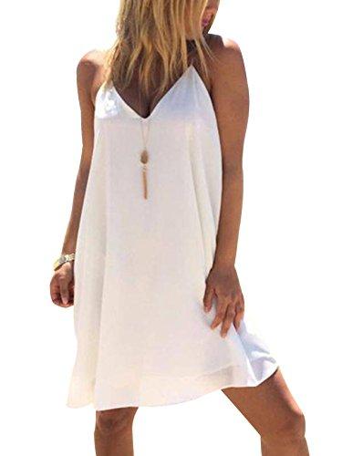 YOINS Damen Sommerkleid Minikleid Ärmellos V-Ausschnitt Weit Kleider Träger Lose T-Shirt Kleid Strandmode Knielang White UK 8-10 (Girls White Party Kleider)