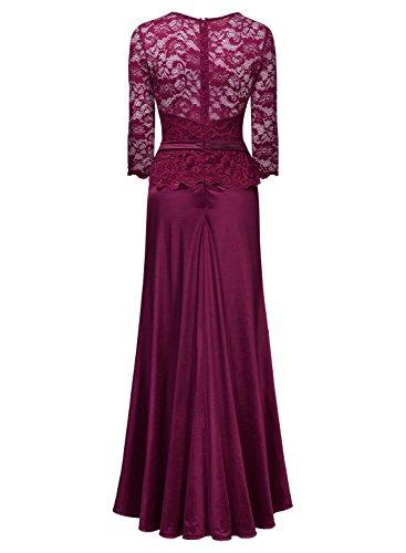MIUSOL Vintage Donna Pizzo Vestito Lunge Abito Da Cerimonia rosso.3