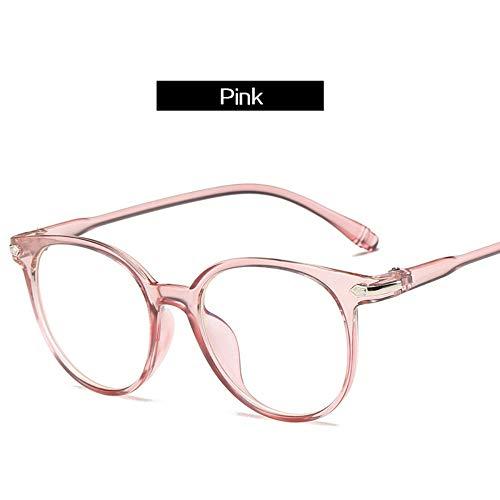 MJDABAOFA Sonnenbrillen Vintage Runde Rosa Brille Frame Frauen Anti Blaues Licht Brillen Männer Retro Klare Linse Optische Brille Frames