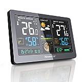 Newentor Wetterstation mit Außensensor Funk Digitales Farbdisplay DCF-Funkuhr Multifunktionale Funkwetterstation Thermometer Hygrometer -