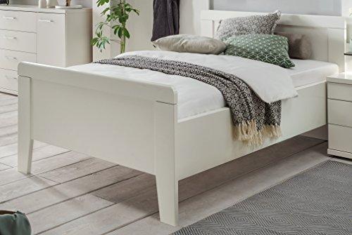 Seniorenbett 100x200cm weiss dekor - Komfortbett höhenverstellbar - (3115)