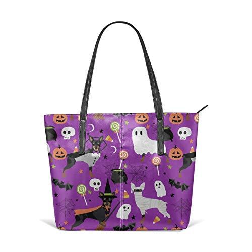 hulili Frauen weiches Leder Tote Umhängetasche Min Pin Hunde Halloween Zwergpinscher Kostüm lila Mode Handtaschen Satchel Geldbörse