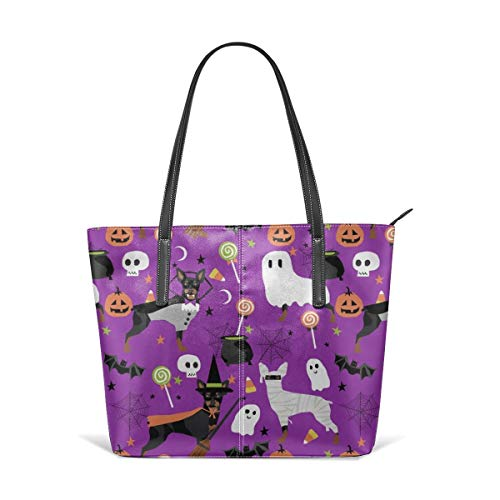 hulili Frauen weiches Leder Tote Umhängetasche Min Pin Hunde Halloween Zwergpinscher Kostüm lila Mode Handtaschen Satchel (Bad Teacher Kostüm)