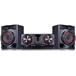 LG cj44Chaine compacte/Haut-Parleur (480W, DJ, Compatible avec Android Via Bluetooth Voiture) Noir/Rouge