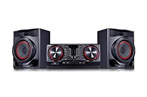 LG CJ44 système Compact (480 Watt, Bluetooth, Radio USB, FM) Noir/Rouge