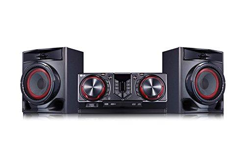LG CJ44 Kompaktanlage (480 Watt, Bluetooth, USB, FM Radio) schwarz/rot (Radio Lg)
