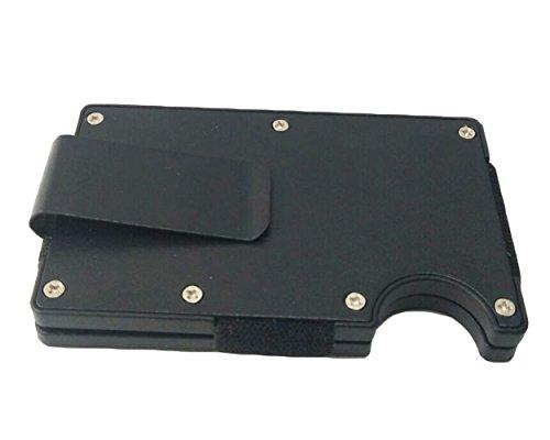 Mens Slim Money Clip Licht Karte Halter Carbon Fiber RFID Karte Case Wallet (Black for Aluminum)