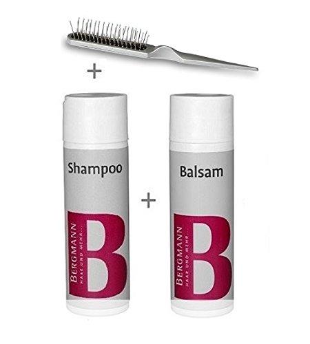 Bergmann Pflegeset Shampoo + Balsam + Bürste - für Perücken Haarteile Haarsysteme Toupets Fulllacewig Kunsthaarperücken
