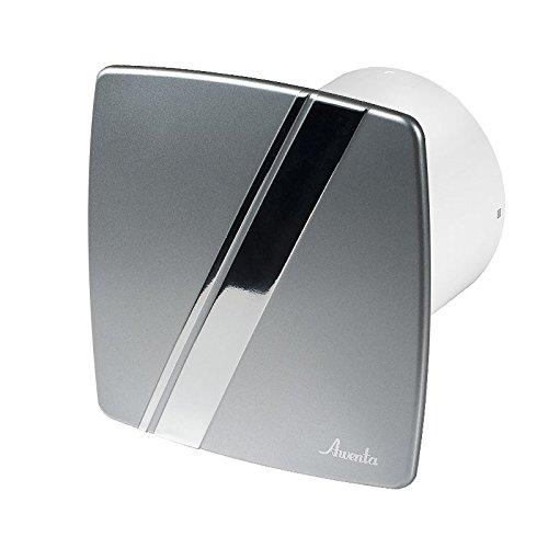 Badlüfter Wand-Ventilator Ø 100 mit Nachlauf , Kugellager Silent Linea - Line System+ (satin) (Badezimmer-ventilator-lichtschalter)