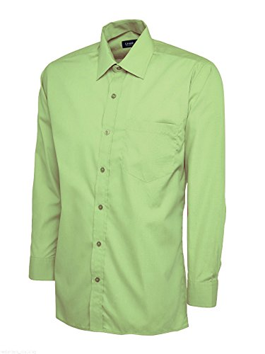 Camicia da uomo a maniche lunghe, taglio classico, in popeline, tutte le taglie/colori Lime