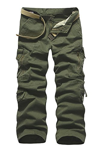 Menschwear Release Pantaloni da Uomo sportivi Casual Pantaloni cargo Stile Militare cintura incluso Verde