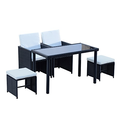 Ensemble salon de jardin encastrable 2 fauteuils monoblocs + 2 tabourets + table basse résine tressée 4 fils coussins déhoussables crème noir 015