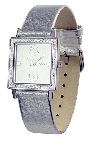 Moog Paris Twisted Montre Femme avec Cadran Argenté, Eléments Swarovski, Bracelet Argenté en Cuir Véritable - M45602-002