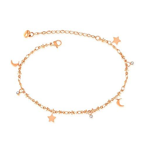 Aeici Frauen Fußkette Edelstahl Fußkette für Frauen Sterne Mond Gold Kette Länge: 19 + 5CM