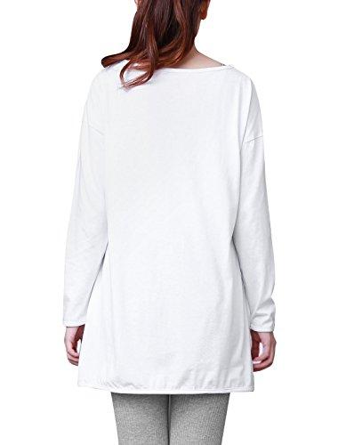 Allegra K Femme Manches Longues Cat Imprimé T-shirts Décontracté Loose Fit Haut Blanc