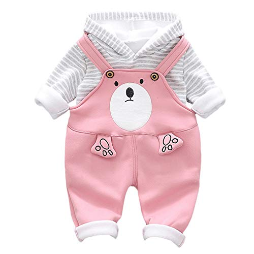Yazidan Kinder Toddler Baby Girls Boys Langarmshirt Stripe Hooded Pullover Kapuzenpullover Pulli - Tops +Cartoon Bär Print Strap Pants Zweiteiler Set Outfits