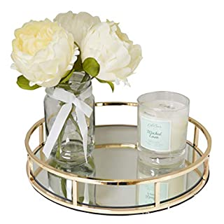 New Decorative Gold Metal Round Shape Serving/Dressing Table Tray With Mirror Glass Base (AR15 Gold)