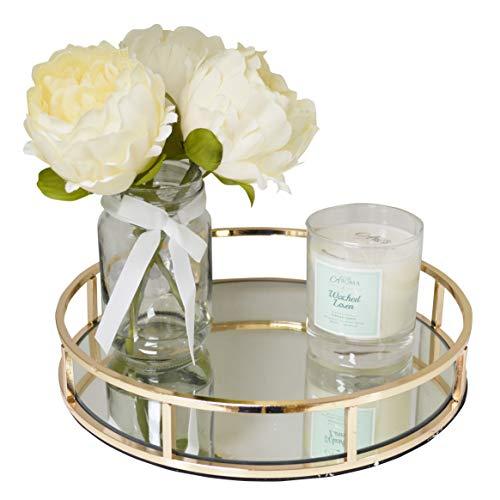 Maison Des Cadeaux New Decorativo Oro e Argento Metallo servire vassoi/toletta con Specchio Vetro basi Ar15 Gold