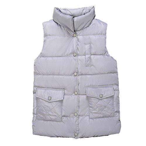 Yiiquan Donna Senza Maniche Gliet Sportivo Outdoor Invernale Slim Fit Grande Codice (Grigio, Asia XL)