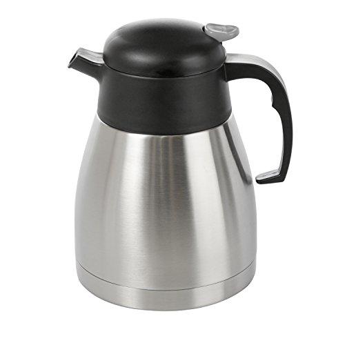 Wenco Isolierkanne, 1 Liter, Einhandautomatik, Kunststoff/Edelstahl, Schwarz/Silber, 515290 - Kolben Kleinen Thermoskanne