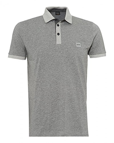 Boss Orange Hugo Mens pother Polo Shirt, Contrast Detail Grey Polo