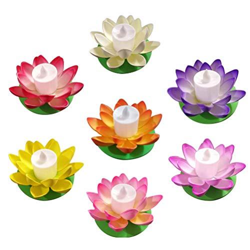 Mobestech 7pcs LED schwimmende Lotus Kerze Seerose Laterne für Teich Dekor (Schwimmende Lotus Kerzen)