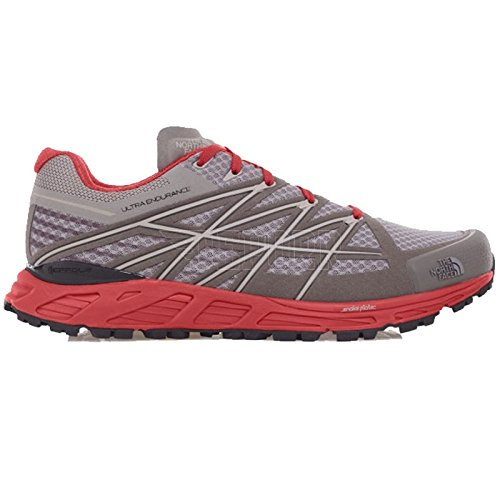 The North Face M Ultra Endurance, Zapatillas de Running para Hombre, Gris (Qsilver Grey / Pompeian Red), 40 1/2 EU
