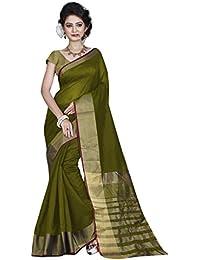 High Glitz Fashion Cotton Saree With Blouse Piece(Ss::Hgf1096Pe_Green Free Size)