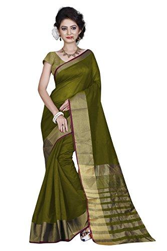 Perfectblue Women`s Cotton Silk Saree With Blouse Piece(PBGOLDdentin_gold) (Mehndi)