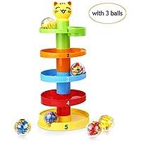 Peradix Gatto Rampa di Palla Pista per Palline Sonore Gioco Montessori Educativo per Prima Infanzia da 9 mesi a 3 anno