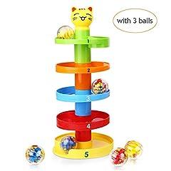 Idea Regalo - Peradix Gatto Rampa di Palla Pista per Palline Sonore Gioco Montessori Educativo per Prima Infanzia da 9 mesi a 3 anno