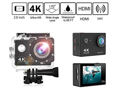 VAWcornic Action Kamera WiFi Sports cam, 4K Sport Camera 16MP Ultra Full HD Unterwasserkamera Helmkamera Digitale Videokamera wasserdicht mit kostenlose Accessoires