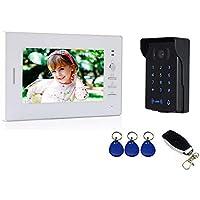 """Nudito Videoportero, Interfono Intercomunicador (1 Monitor TFT LCD de 7"""", 1 Cámara Infrarroja con Visión Nocturna, Desbloqueo con tarjetas RFID, Contraseña y Mando Remoto). Instrucciones en español"""