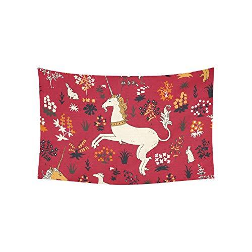 William Cotton Tapestry (JOCHUAN Wandteppich handgezeichneten Vintage Einhorn Zauberwald Wandteppiche Wandbehang Blume psychedelischen Wandteppich Wandbehang indischen Wohnheim Dekor für Wohnzimmer Schlafzimmer 60 X 40 Zoll)