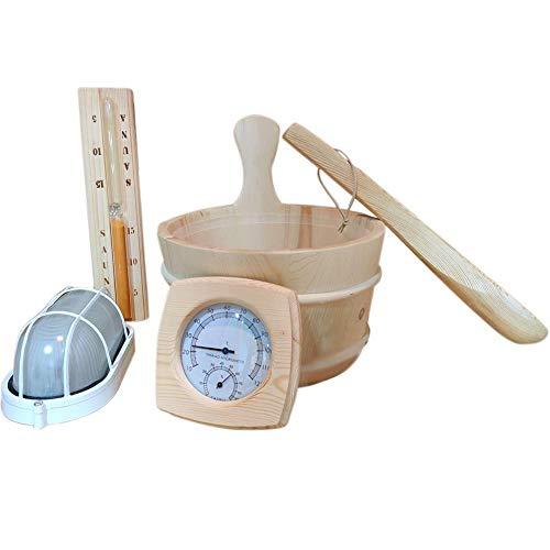 oshidede Sauna Eimer, Sauna 5 STÜCKE Anzug Zubehör Einschließlich Sauna Eimer Thermometer Lampe Schöpflöffel Sanduhr